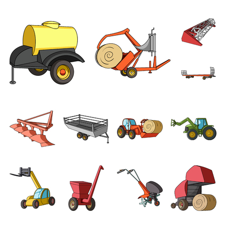 Agricultural machinery cartoon icons in set collection for design. Equipment and device vector symbol stock web illustration.
