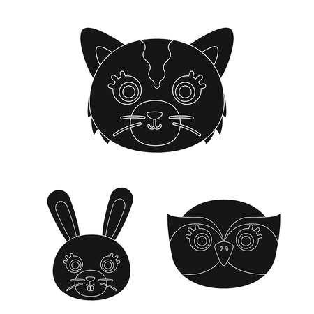 Muzzles of animals black icons in set collection for design. Wild and domestic animals vector symbol stock web illustration. 向量圖像