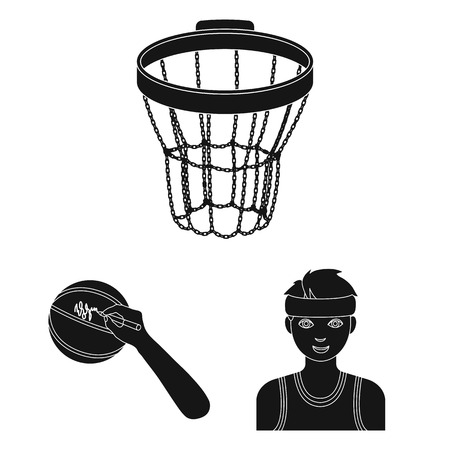 Basketball and attributes black icons in set collection for design. Basketball player and equipment vector symbol stock web illustration. 일러스트