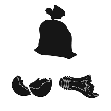 Garbage and waste black icons in set collection for design. Cleaning garbage vector symbol stock  illustration. 스톡 콘텐츠 - 98861632