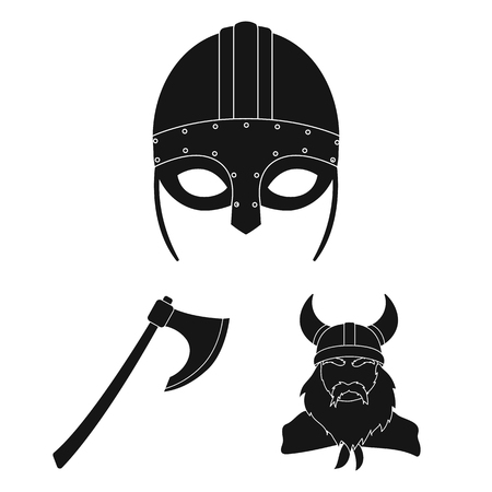 Vikings and attributes black icons in set collection for design.Old Norse Warrior vector symbol stock  illustration. Illustration