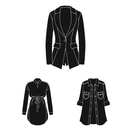 Women Clothing black icons in set collection for design.Clothing Varieties and Accessories vector symbol stock illustration.