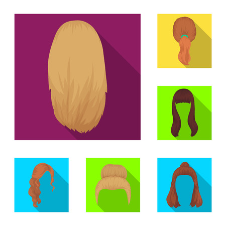 Female hairstyle flat icons in set collection for design. Stylish haircut vector symbol stock  illustration. Illusztráció