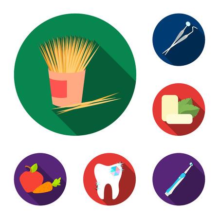 Dental care flat icons in set collection for design. Care of teeth vector symbol stock  illustration. Reklamní fotografie - 98867476