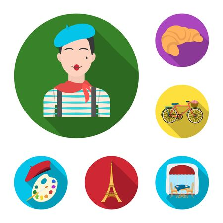 Country France flat icons in set collection for design. France and landmark vector symbol stock  illustration. Illustration