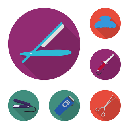 Hairdresser and tools flat icons in set collection for design.Profession hairdresser vector symbol stock  illustration.
