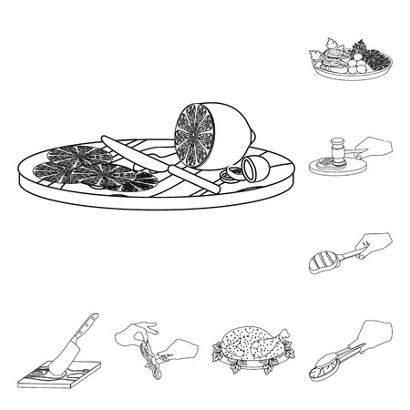 Cooking food outline icons in set collection for design. Kitchen, equipment and tools vector symbol stock  illustration.