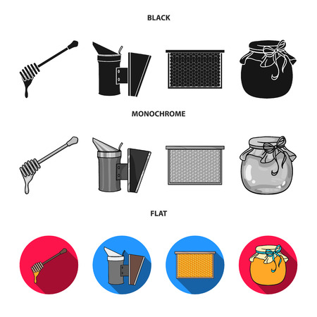 A frame with honeycombs, a ladle of honey, a fumigator from bees, a jar of honey.Apiary set collection icons in black, flat, monochrome style vector symbol stock illustration web.