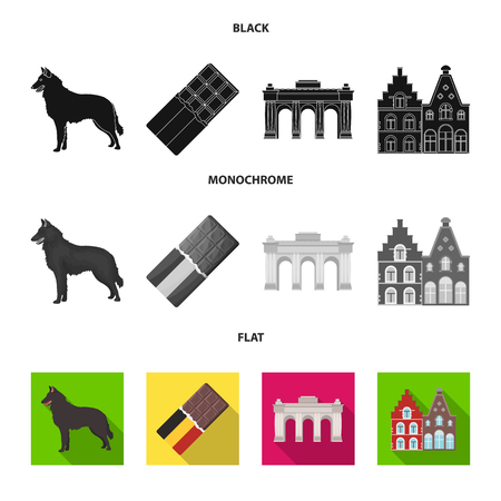 Chocolate, cathedral and other symbols of the country.Belgium set collection icons in black, flat, monochrome style vector symbol stock illustration .