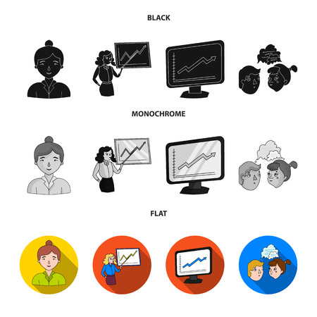Businesswoman, growth charts, brainstorming.Business-conference and negotiations set collection icons in black, flat, monochrome style vector symbol stock illustration .