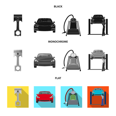 Car on lift, piston and pump black, flat, monochrome icons in set collection for design. Car maintenance station vector symbol stock illustration
