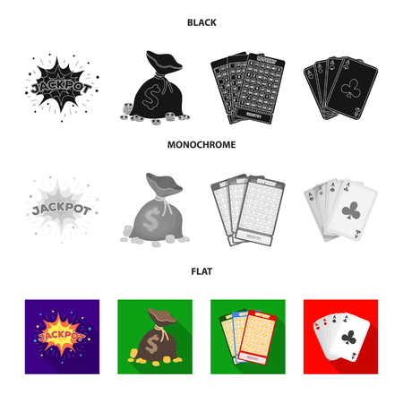 Jack sweat, a bag with money won, cards for playing Bingo, playing cards. Casino and gambling set collection icons in black, flat, monochrome style vector symbol stock illustration  イラスト・ベクター素材