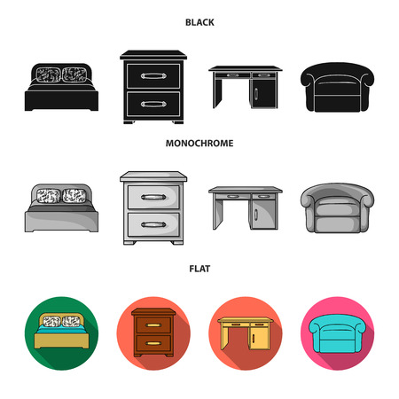 Interior, design, bed, bedroom .Furniture and home interiorset collection icons in black, flat, monochrome style vector symbol stock illustration . Stock Illustratie