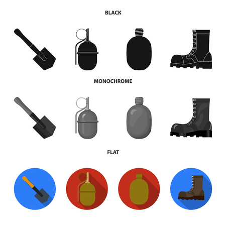 Sapper blade, hand grenade, army flask, soldier boot. Military and army set collection icons in black, flat, monochrome style vector symbol stock illustration web. Ilustração