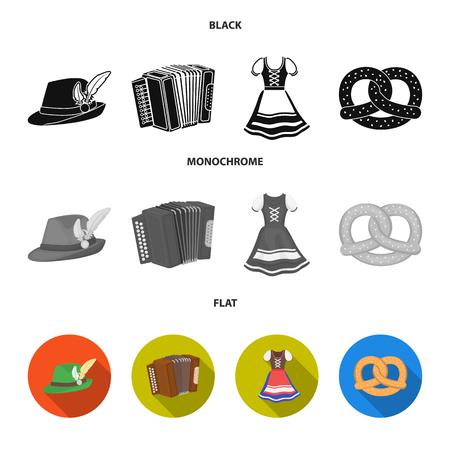 Tyrolean hat, accordion, dress, pretzel. Oktoberfest set collection icons in black, flat, monochrome style vector symbol stock illustration web.  イラスト・ベクター素材
