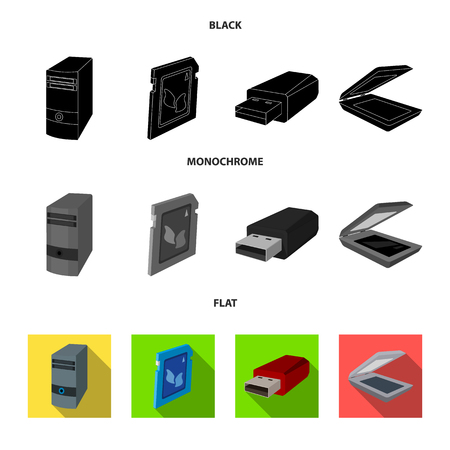 A system unit, a flash drive, a scanner and a SD card. Personal computer set collection icons in black, flat, monochrome style vector symbol stock illustration web. Фото со стока - 98887483