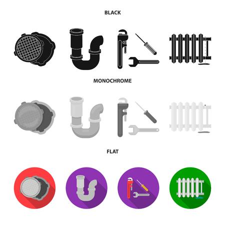 Sewage hatch, tool, radiator.Plumbing set collection icons in black, flat, monochrome style vector symbol stock illustration web. Vettoriali