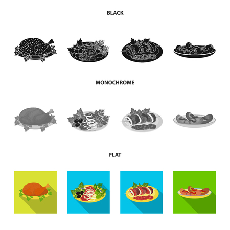 Fried chicken, vegetable salad, shish kebab with vegetables, fried sausages on a plate. Food and Cooking set collection icons in black, flat, monochrome style vector symbol stock illustration web.