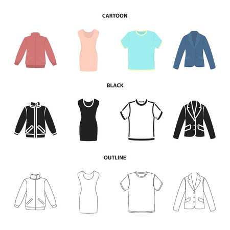 A mans jacket, a tunic, a T-shirt, a business suit. Clothes set collection icons in cartoon, black, outline style vector symbol stock illustration web.