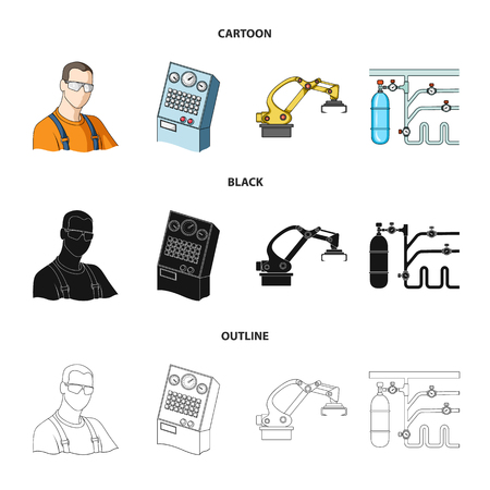 Modern equipment and other web icon in cartoon,black,outline style.Machine tools and equipment factory icons in set collection.