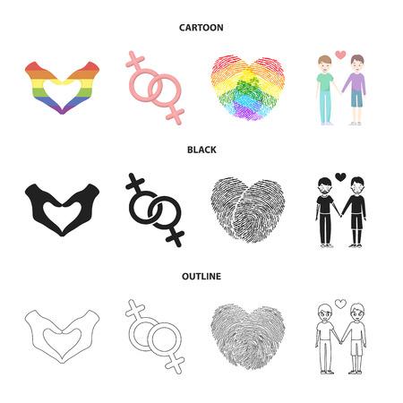 Hands, feminism, fingerprints. Gay set collection icons in cartoon,black,outline style vector symbol stock illustration web.