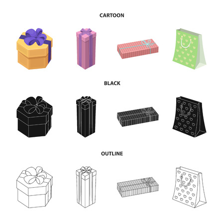 Gifts and certificates set collection icons in cartoon,black,outline style vector symbol stock illustration