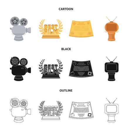 Movie awards set collection icons in cartoon,black,outline style vector symbol stock illustration Stock Illustratie