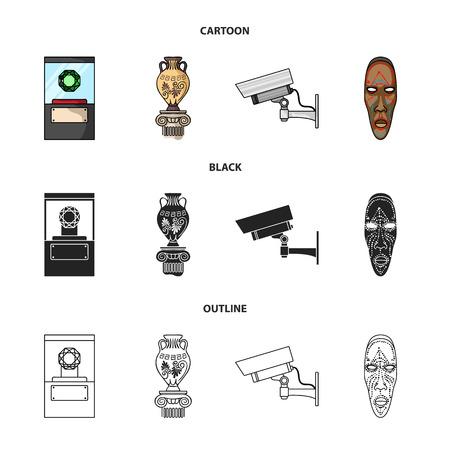 Ein Diamant, eine Vase auf einem Ständer, eine Überwachungskamera, eine afrikanische Maske. Gesetzte Sammlungsikonen des Museums in der Karikatur, Schwarzes, Entwurfsartvektorsymbolvorrat-Illustrationsnetz. Standard-Bild - 98985911