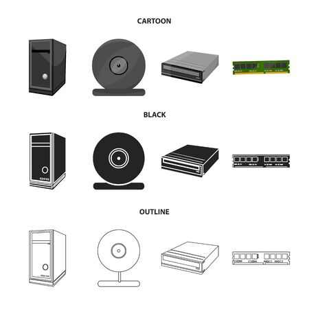 System unit, memory card and other equipment. Personal computer set collection icons in cartoon,black,outline style vector symbol stock illustration web. Archivio Fotografico - 98985917