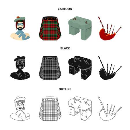 Highlander, Scottish Viking, tartan, kilt, Scottish skirt, scone stone, national musical instrument of bagpipes. Scotland set collection icons in cartoon black outline style vector symbol stock illustration