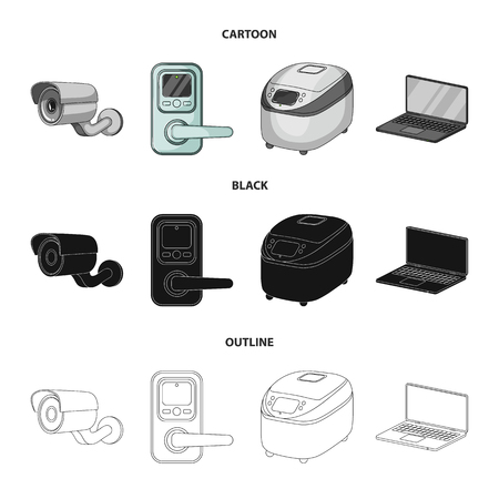Home appliances and equipment cartoon,black,outline icons in set collection for design.Modern household appliances vector symbol stock web illustration.