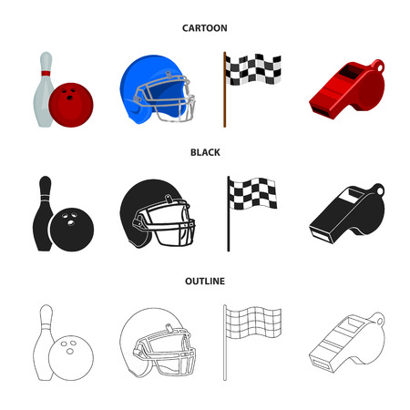 Sport set collection icons in cartoon, black, outline style vector symbol stock illustration web.