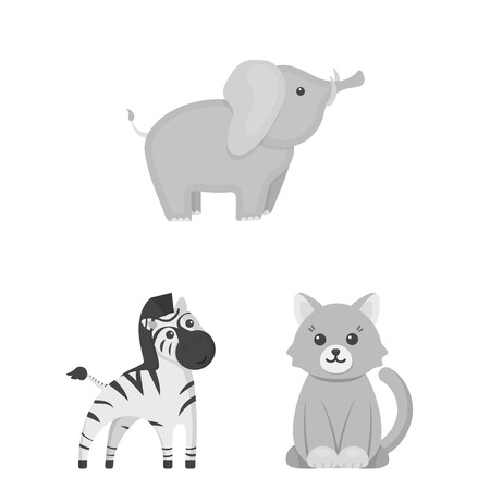 An unrealistic monochrome animal icons in set collection for design.