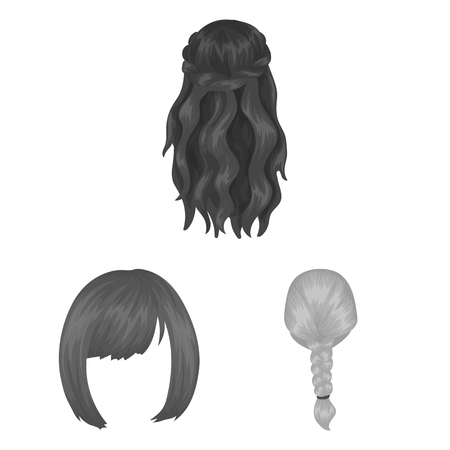 Female hairstyle monochrome icons in set collection for design. Illusztráció