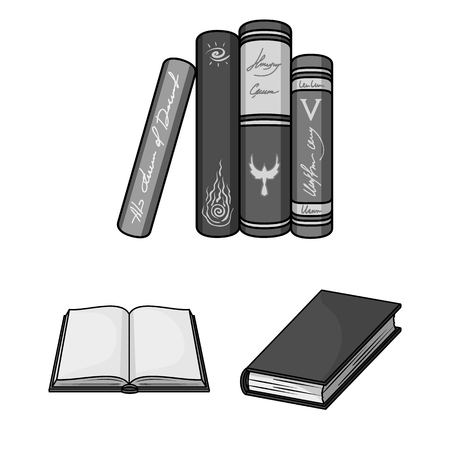 Book bound monochrome icons in set collection for design.