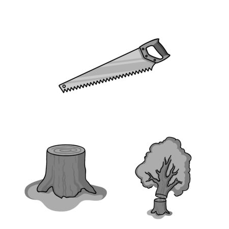 Sawmill and Timber monochrome icons in set collection for design.
