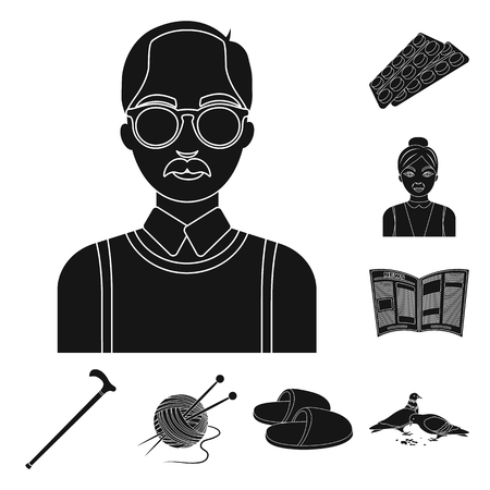 Human old age black icons in set collection for design. Ilustracja
