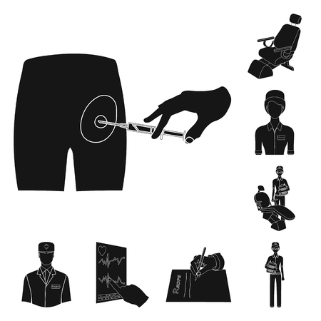 Medicine and treatment black icons in set collection for design.Hospital and equipment vector symbol stock  illustration.