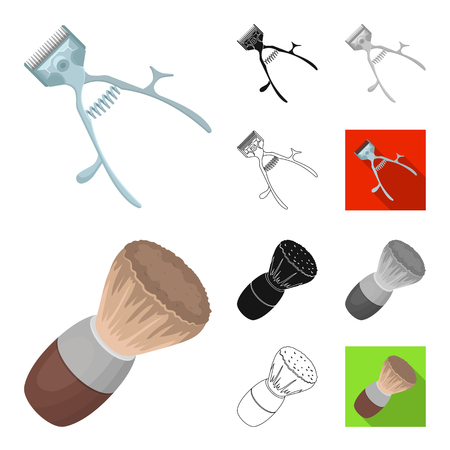 Barbershop and equipment cartoon outline icons
