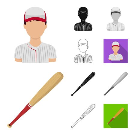 Baseball and attributes cartoon outline icons