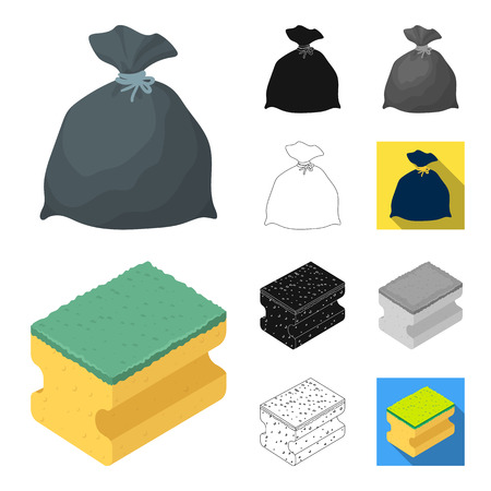 Cleaning and maid cartoon outline icons