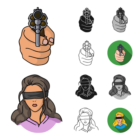 Crime and Punishment cartoon outline icons