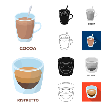 Different kinds of coffee cartoon outline icons