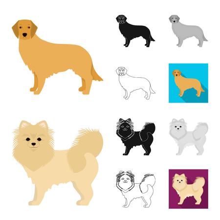 Dog breeds cartoon outline icons