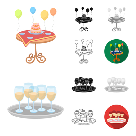 Event Organisation cartoon outline icons Ilustracja