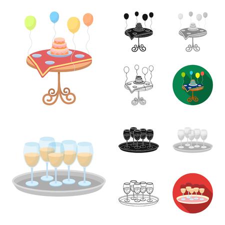 Event Organisation cartoon outline icons Vettoriali