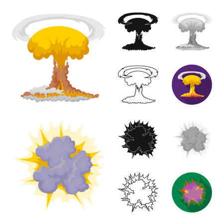 Different explosions cartoon outline icons Иллюстрация