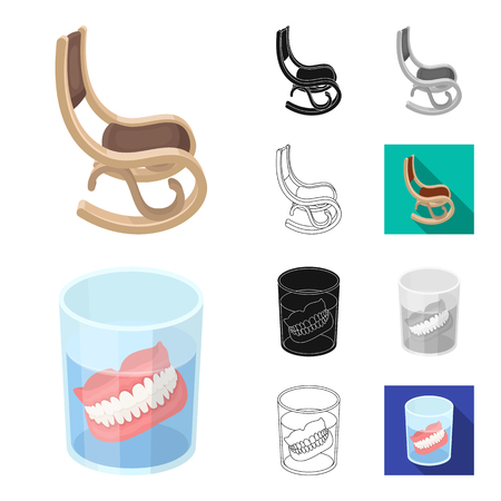 Human old age cartoon outline icons