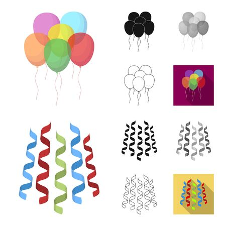 Party, entertainment cartoon outline icons Illustration