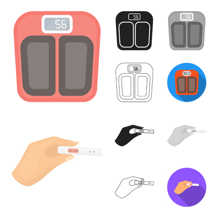 Woman and pregnancy cartoon outline icons